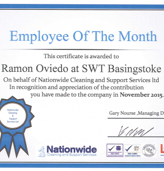 NOVEMBER 15 CLEANER OF THE MONTH